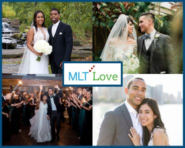 MLT Love 2020 collage featuring Lauren Scott (Richardson) & Walter Scott, Jonathan & Nancy Chiquito, Krystalyn & Chris Broughton, and Laura Sandoval & Javon Tai