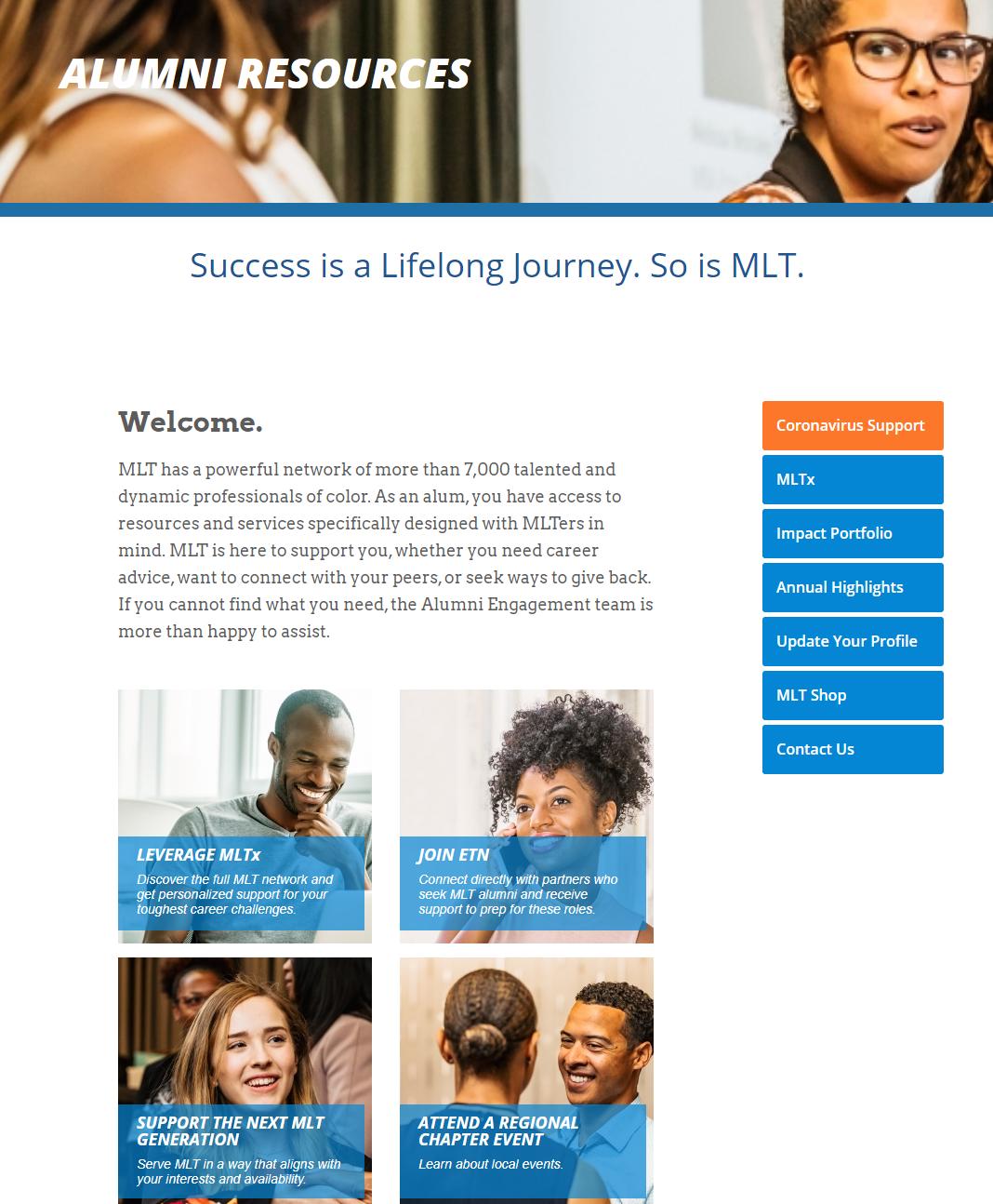 Screenshot of MLT Alumni Resources Webpage
