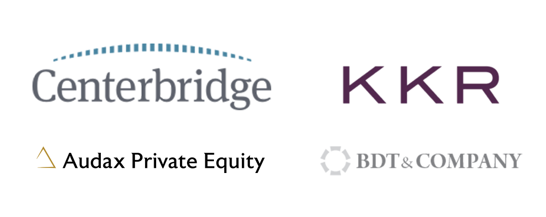 Icon collage featuring logos of MLT Private Equity Programming Partners Centerbridge, KKR, Audax, and BDT&Company