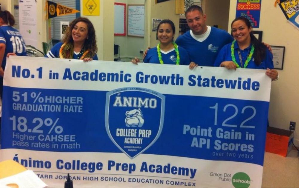 Maria Razo and team celebrating their Highest Academic Increase announcement